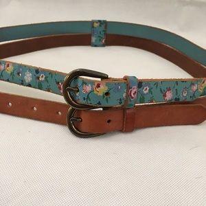 Boho Floral Blue Brown Double Wrap Leather Belt